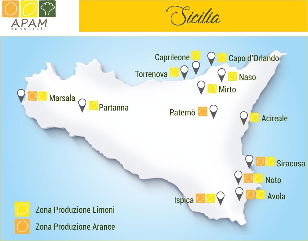 Consorzio Apam Torrenova - Zone di produzione Agrumi Siciliani